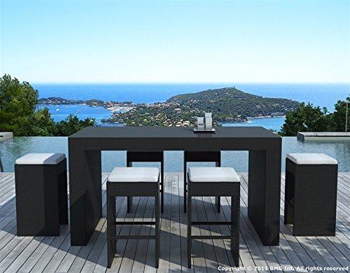 Table haute outdoor 6 places résine tressée noir et blanc CUBA ...