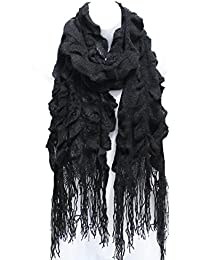 AN- Womens Fall Winter Fashion Ruffle Knit Scarf with Fringe