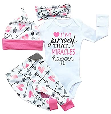 """Baby Girls Clothes Long Sleeve """"Miracles"""" Romper Outfit Pants Set +Hat+Headband"""