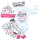 Baby Girls Clothes Long Sleeve 'Miracles' Romper Outfit Pants Set +Hat+Headband (0-3 months, pink)