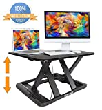 Standing Desk Preassembled Slim Design Height Adjustable Sit Stand Up Desktop Desk Riser Fit Two Monitors Converter Topper Black By SITA OFFICE