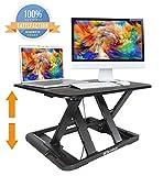 Standing Desk Preassembled Slim Design Height Adjustable Sit Stand Up Desktop Desk Riser Fit Two Monitors Converter Topper Black By SITA OFFICE