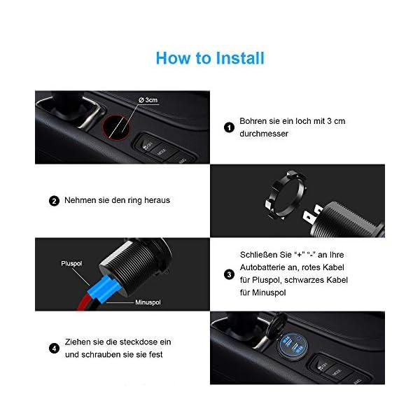 51RspQy5ajL QC3.0 Auto USB Steckdose, SONRU 12V/24V KFZ Ladegerät 36W USB Quick Charge, LED Voltmeter/Schalter/Zigarettenanzünder…