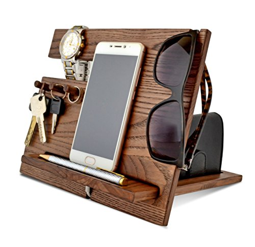 Wood Phone Docking Station, Ash Desk Organizer, Tablet Holder, Key Hooks, Coin, Wallet, Watch Stand, Handmade Men Graduation Gift, Husband Anniversary, Dad Birthday Idea, Nightstand for Him, Travel