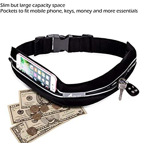 Hiking /… Cycling ABETER Best Running Belt Pocket Belt Waist Pack Pouch Sweatproof Rainproof Slim with 2 Expandable Pockets and No Bounce Zipper for Phone Sports,Travel Jogging Spy Cards Money