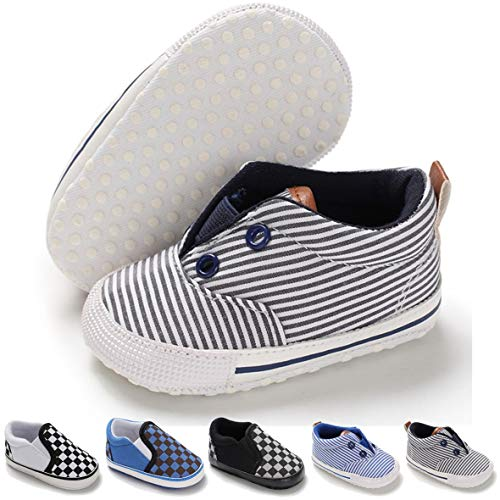 BENHERO Infant Baby Boys Girls Canvas Shoes Slip On Soft Sole Moccasins Toddler First Walker Sneaker Newborn Crib Shoes(0-18 Months) (6-12 Months M US Infant,B-Grey - Stripes Crib Newborn