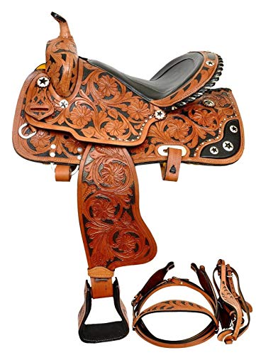 zohran New Hand Carved Leather Barrel Pleasure Trail Horse Saddle with Free Tack Set (WS-183 Tan, 17 Inch)