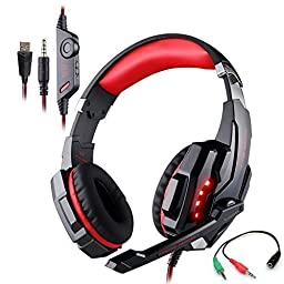 Gaming Headset for PlayStation 4 Tablet PC Mobilephones iPhone 6/6s/6 plus/5s/5c/5, KOTION EACH G9000 3.5mm Over-Ear Headphone with Microphone Volume Control LED Light - Black + Red