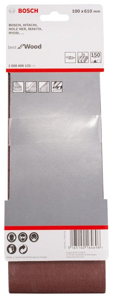 Bosch 2608606130 3 Bandes abrasives 100 x 610 mm Grain 60