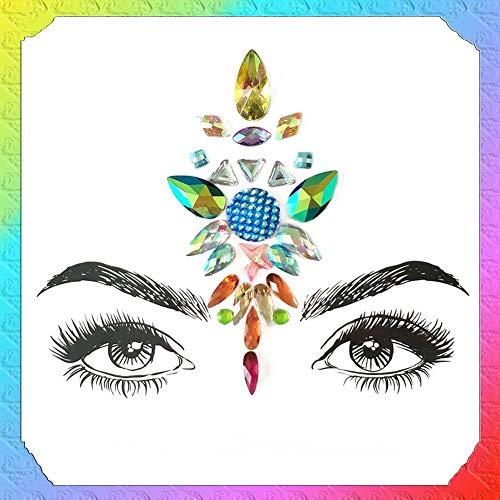 Aland Glittering Rhinestone Face Tattoo Sticker Adhesive Festival Party Body Makeup 2#