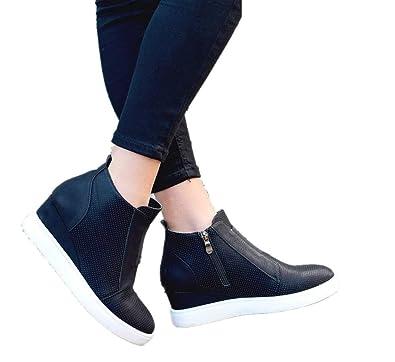 47b8b8aafd5 Wedge Trainers for Womens Platform Zip Hightop Heeled Leather Ankle Chelsea  Boots Women 4.5cm Ladies