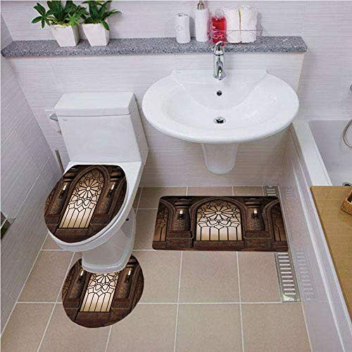 Antique Islamic (Bath mat set Round-Shaped Toilet Mat Area Rug Toilet Lid Covers 3PCS,Gothic,Antique Myst Gate with Oriental Islamic Pattern and Curvings Artistic Design Illustration,Brown Bath mat set Round-Shaped To)