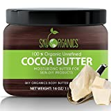 Organic Cocoa Butter By Sky Organics: Unrefined, 100% Pure Raw Cocoa Butter 16oz – Skin Nourishing, Moisturizing & Healing, for Dry Skin, Stretch Marks - For Skin Care, Hair Care & DIY Recipes