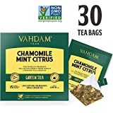 Chamomile Tea with Mint & Citrus (30 Tea Bags) | LOW CAFFEINE, SLEEP TIME TEA | Calming & Relaxing Green Tea Blend | 100% Natural Detox Chamomile Tea Bags for Night Time | Brew Hot or Iced Tea