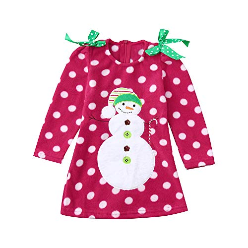 Christmas Dress Toddler Baby Girl Snowman Print Casual Kids Clothes Outfits