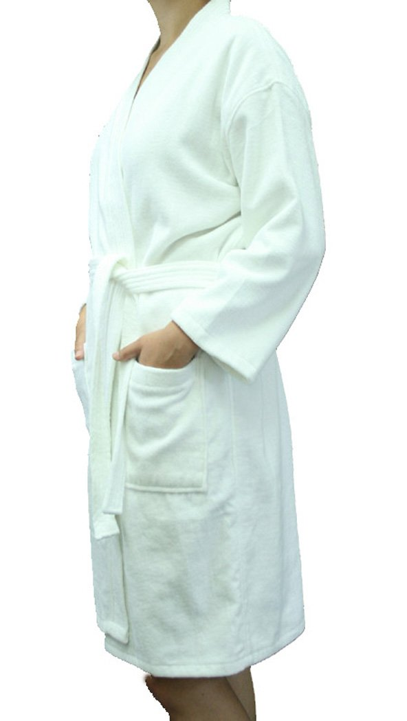 Velour Terry Kimono Adult Bathrobes 100% Cotton robes, Size S/M, WHITE by robesale