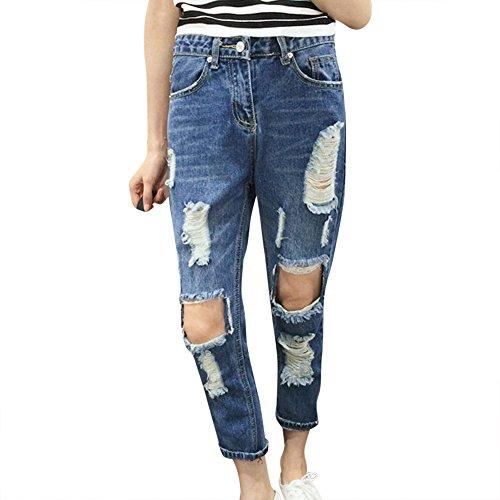 Mujer De Vaquero Elástica Pantalones Mezclilla Grande Agujeros Jeans Azul