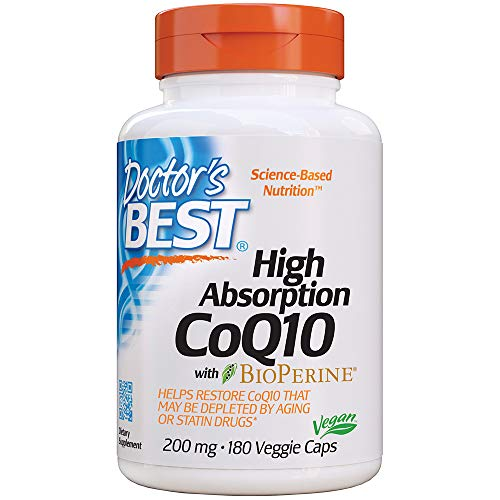 - Doctor's Best High Absorption CoQ10 with BioPerine, Non-GMO, Gluten Free, Naturally Fermented, Vegan, Soy Free, Heart Health and Energy Production, 200 mg, 180 Veggie Caps