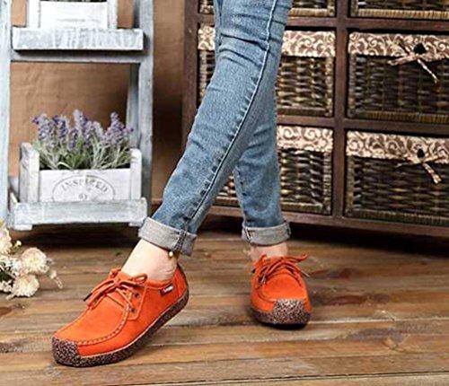 Piselli Tempo Tacco Pelle Sneakers Eleganti Scarpe Donne SOMESUN Zeppa Moda Bottom Fondo Libero da con Prime Fondo Antiscivolo Giardini Ginnastica Basso per Il Arancia in Tennis Piatto 8PqxRwP