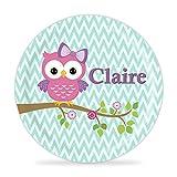 Owl Plate - Pink Purple Woodland Bird Melamine Personalized Name Gift