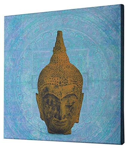 "Epic Graffiti Buddha on Blue by Elena Ray Giclee Canvas Wall Art, 26"" x 26"""