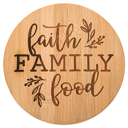 (Faith Family Food Bamboo Trivet Board, 7 1/2
