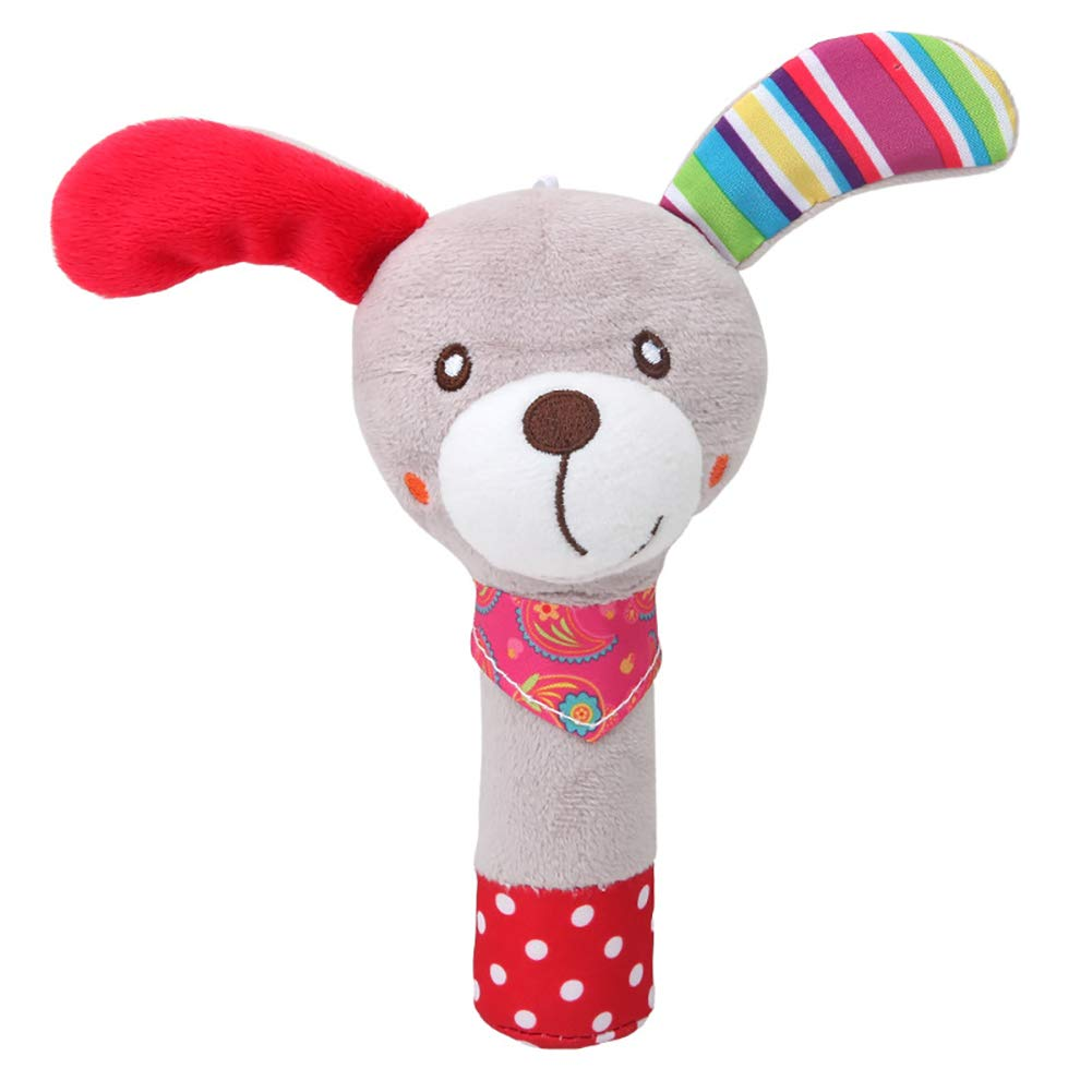 Hemore Hand Bells Rattles Plush Toy Baby Cartoon Animal Stuffed Toy Jingle Bell Learning & Activity Puppet Hand Toy Baby Rattle for Infant Toddler Boys Girls Children (Dog)1PCS