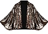 M&S&W Women Stylish Sexy Sequin Bat Sleeve Outerwear Blazers Golden S