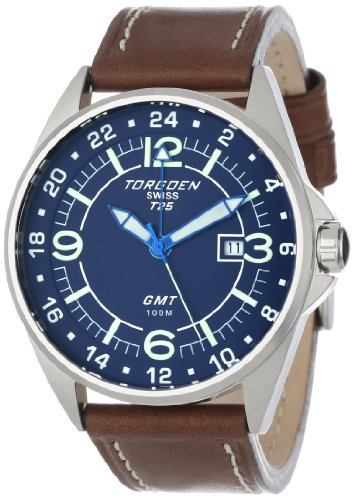Torgoen Swiss Men's T25103 T25 GMT Stainless Steel Watch with Leather Band