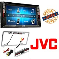 JVC KW-V140BT Replaces JVC KW-V130BT Double Din BT In-Dash DVD/CD/AM/FM Stereo + Cache Night Vision Car License Plate Rearview Camera - Silver CAM810S