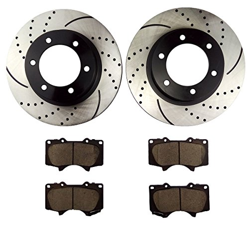 Toyota Brake - Atmansta QPD10046 Front Brake kit with Drilled/Slotted Rotors and Ceramic Brake pads for Toyota 4Runner FJ Cruiser Tacoma