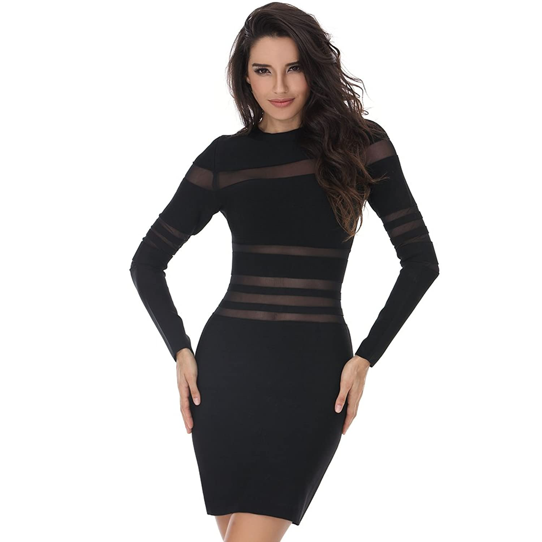 Ladyce Bnadage Dress Autumn Long Sleeve Party Dress