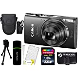 CanonPowerShot ELPH 360 HS 20.2MP 12x Zoom Full-HD 1080p Wi-Fi Digital Camera (Black) + 32GB Card + Reader + Case + Accessory Bundle