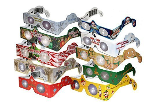 3D Christmas Glasses - 20 3D Heaven Holiday Viewers (TM) 3D Christmas Glasses Kit Turn Christmas Tree & Holiday Lights into Magical Images - 10 STYLES (2 of each) - INCLUDES A Lenticular 3D Holiday Card!