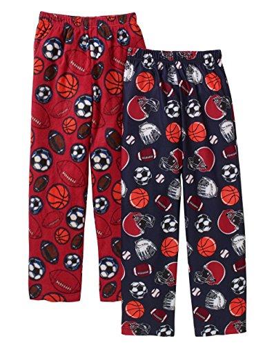 Boys Fleece Pajama Pants (Faded Glory Boys' Micro Fleece and Brushed Micro Jersey Sleep Pants 2 Pack (14/16, Blue Sapphire/Red))