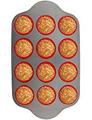Silicone Muffin Pan With Steel Frame, 12 Cups Full Size