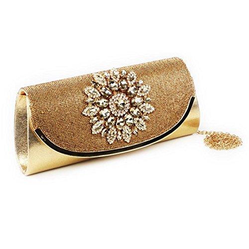 Accented Handbag Evening Gold Lock Ladies Flower Bridal Womens Push Clutch Wedding gEOwxBnq