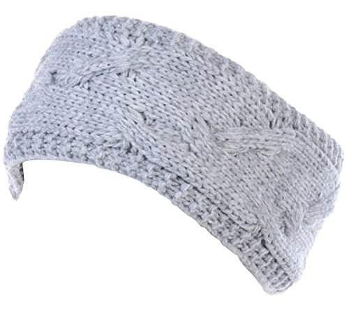 BYOS Winter Cozy Plush Faux Fur Fleece Lined Knitted Headband Wrap Ear Warmer,Various Patterns (Cable Knit Heather Lt. Gray)