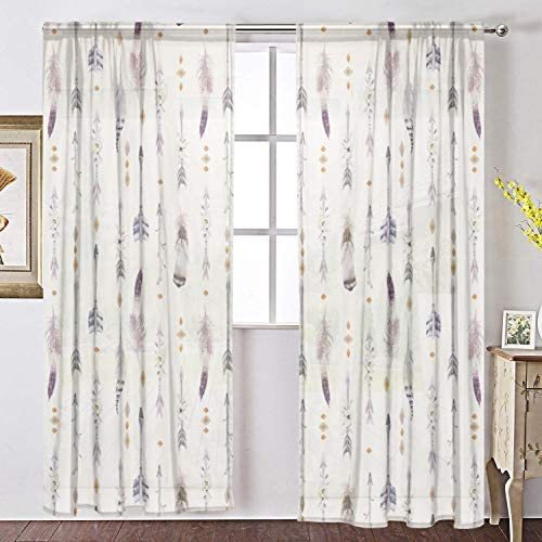 INGBAGS Watercolor Boho Arrows and Feathers Voile Window Long Sheer Curtain 2 Panels Cat