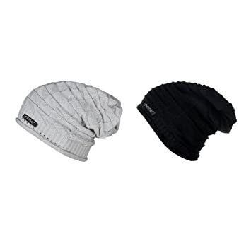 d9d584279e0 Noise Combo of Grey Knitted and Black Wrinkled Slouchy Beanie Winter Cap-  Size XL  Amazon.in  Sports