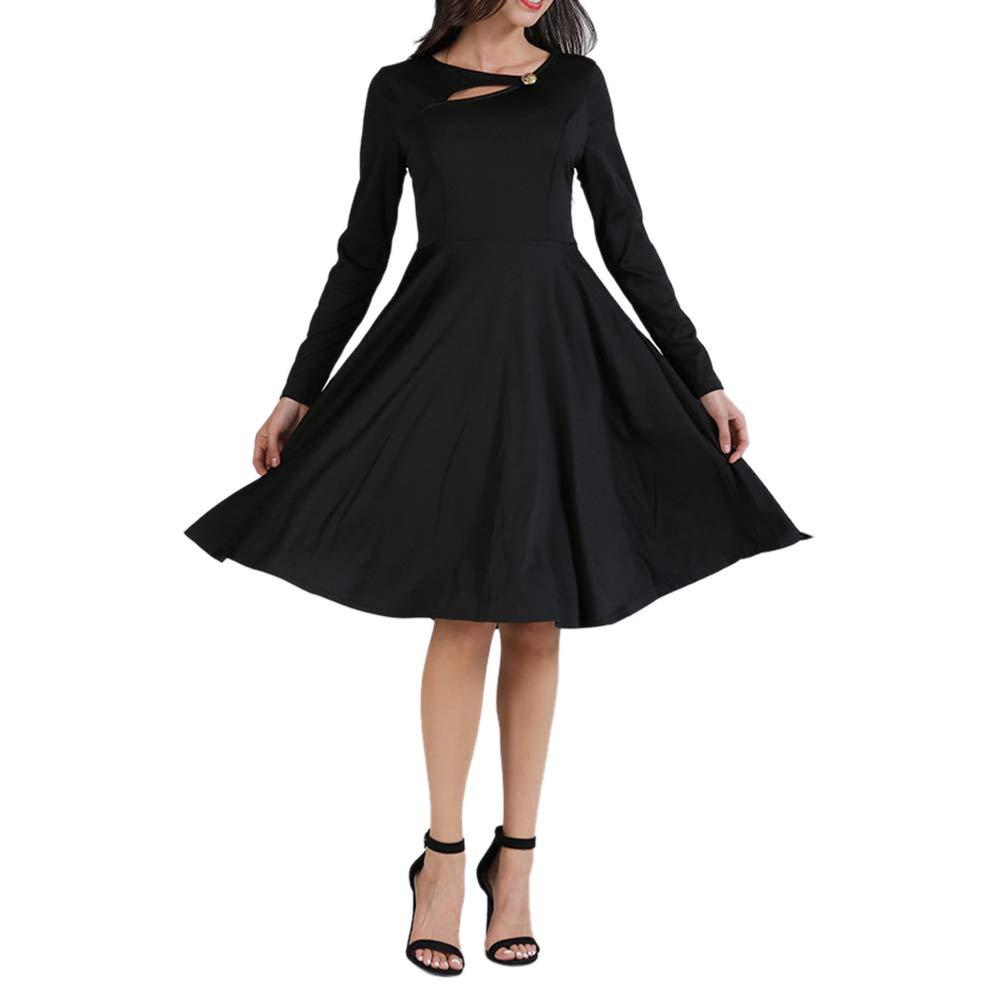 Damen Kleider Blusekleid Hemdkleider Frauen Kleid Partykleid Lange Ärmel Winter Einfarbig Slim Fit Rundum Plissiert