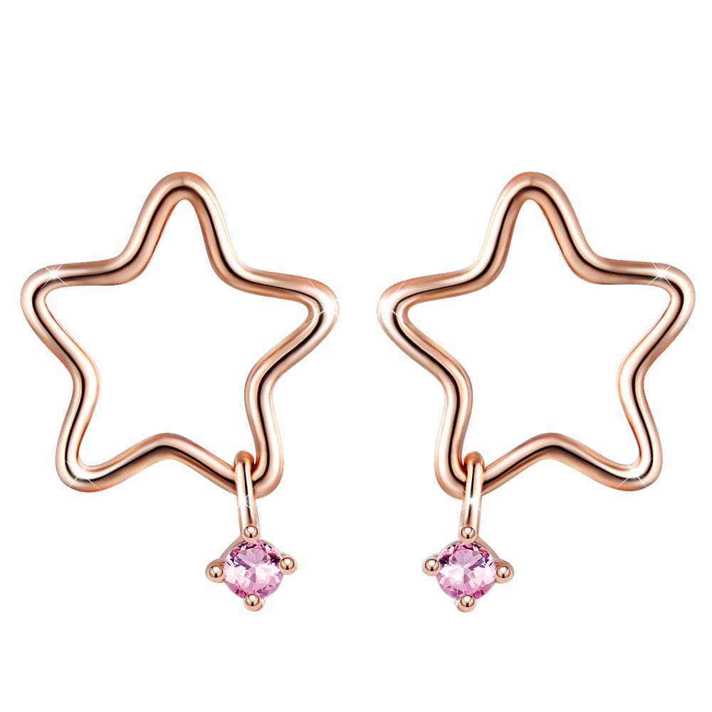 Buy Star Studs Yumilok Jewelry 925 Sterling Silver Cubic Zirconia Rose Gold Stud Earrings For Girls Kids At Amazon In