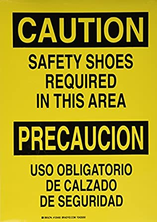 "Brady 125450 Bilingual Sign, Legend ""Safety Shoes Required/Uso Obligatorio De Calzado"