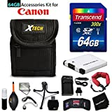 64GB Accessory Kit for Canon PowerShot ELPH 360 HS, ELPH 350 HS, ELPH 340 HS, Elph 190 IS, ELPH 170, ELPH 180 includes 64GB High-Speed Memory Card + NB-11L Battery + AC/DC Charger + Fitted Case + Kit