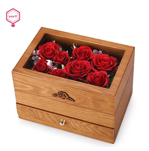 Marquetry Box (LUCKYYAN Retro Wooden Two layers Jewelry Box Marquetry Flowers Top Lid & Band Mirror , light brown)