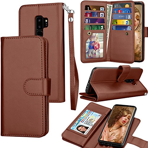 Tekcoo Compatible for Galaxy S9 Plus Wallet Case/Samsung Galaxy S9+ PU Leather Case, Luxury Credit ID Card Slots Holder Carrying Folio Flip Cover [Detachable Magnetic Hard Case] & Kickstand - Brown