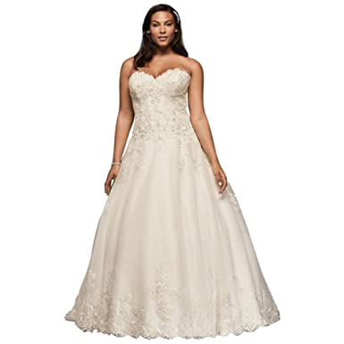 60d25faaa2e David s Bridal Beaded Lace and Tulle Plus Size Wedding Dress Style ...