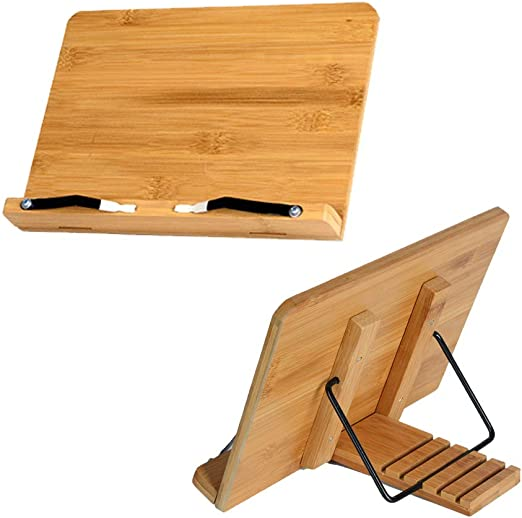 Portable Bamboo Book Stand Book Holder Stand for Reading Adjustable Cookbook