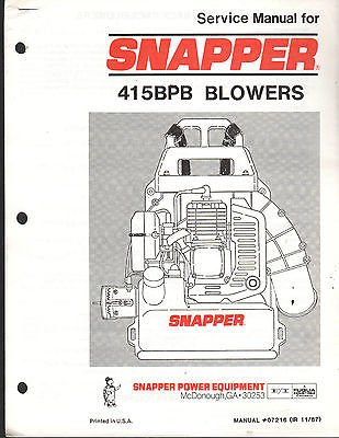 1988 SNAPPER POWER EQUIPMENT 415BPB BLOWERS SERVICE MANUAL P/N 07216