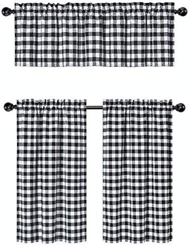 GoodGram 3 Pc. Plaid Country Chic Cotton Blend Kitchen Curtain Tier Valance Set – Assorted Colors Black